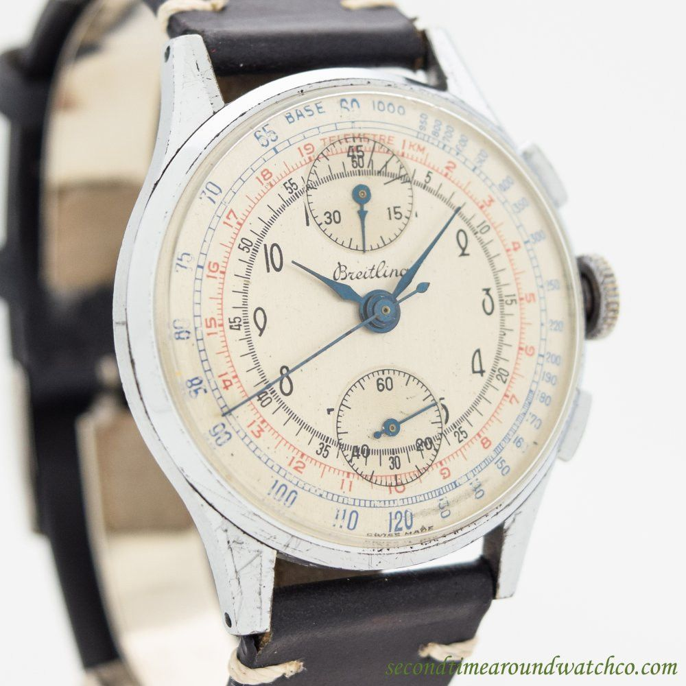 1946 Vintage Breitling 2Register Chronograph Chrome