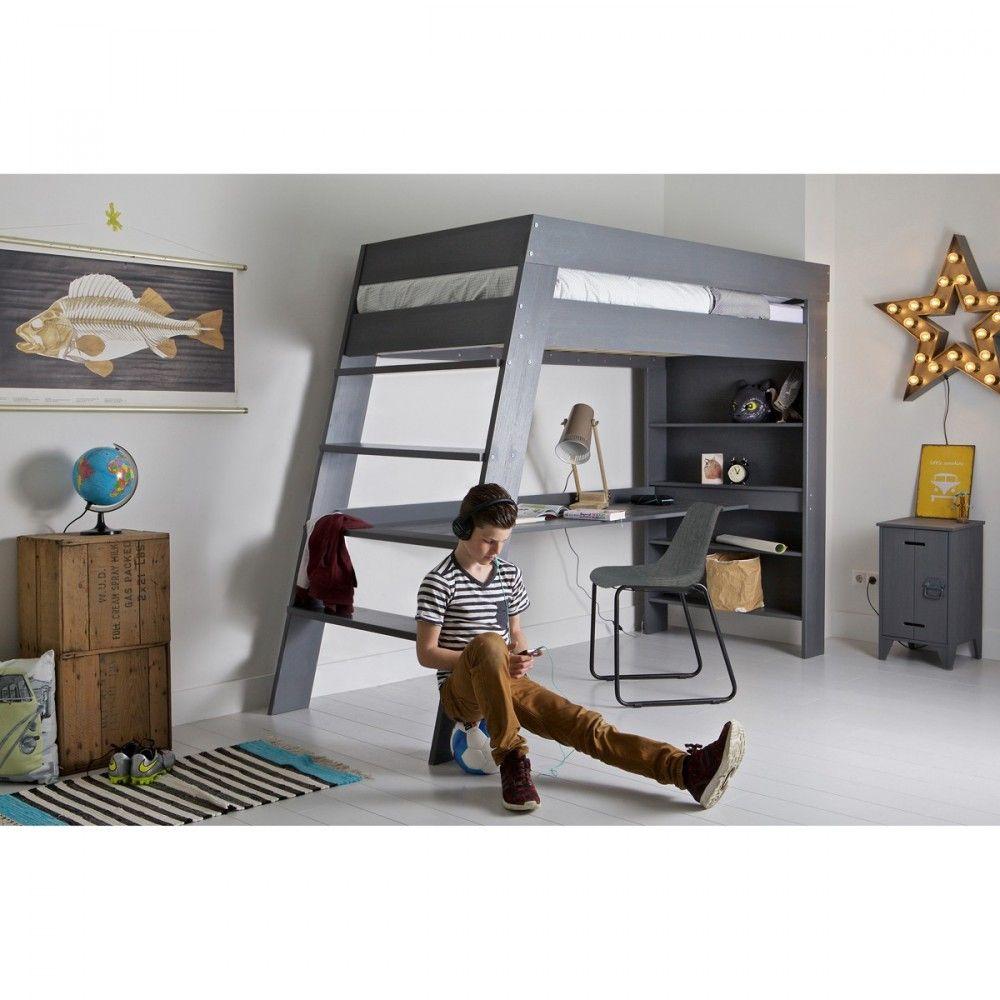 lit mezzanine 90x200 avec bureau en bois fsc keasy