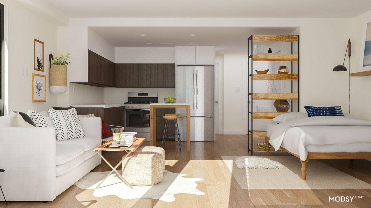 Studio Apartment Layout Ideas Two Ways To Arrange A Square Studio