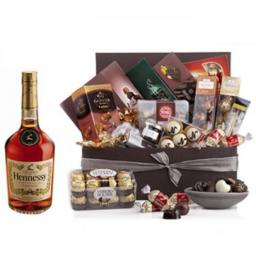 Chocolate Lover Deluxe Gift Set with Hennessey Cognac to Netherlands