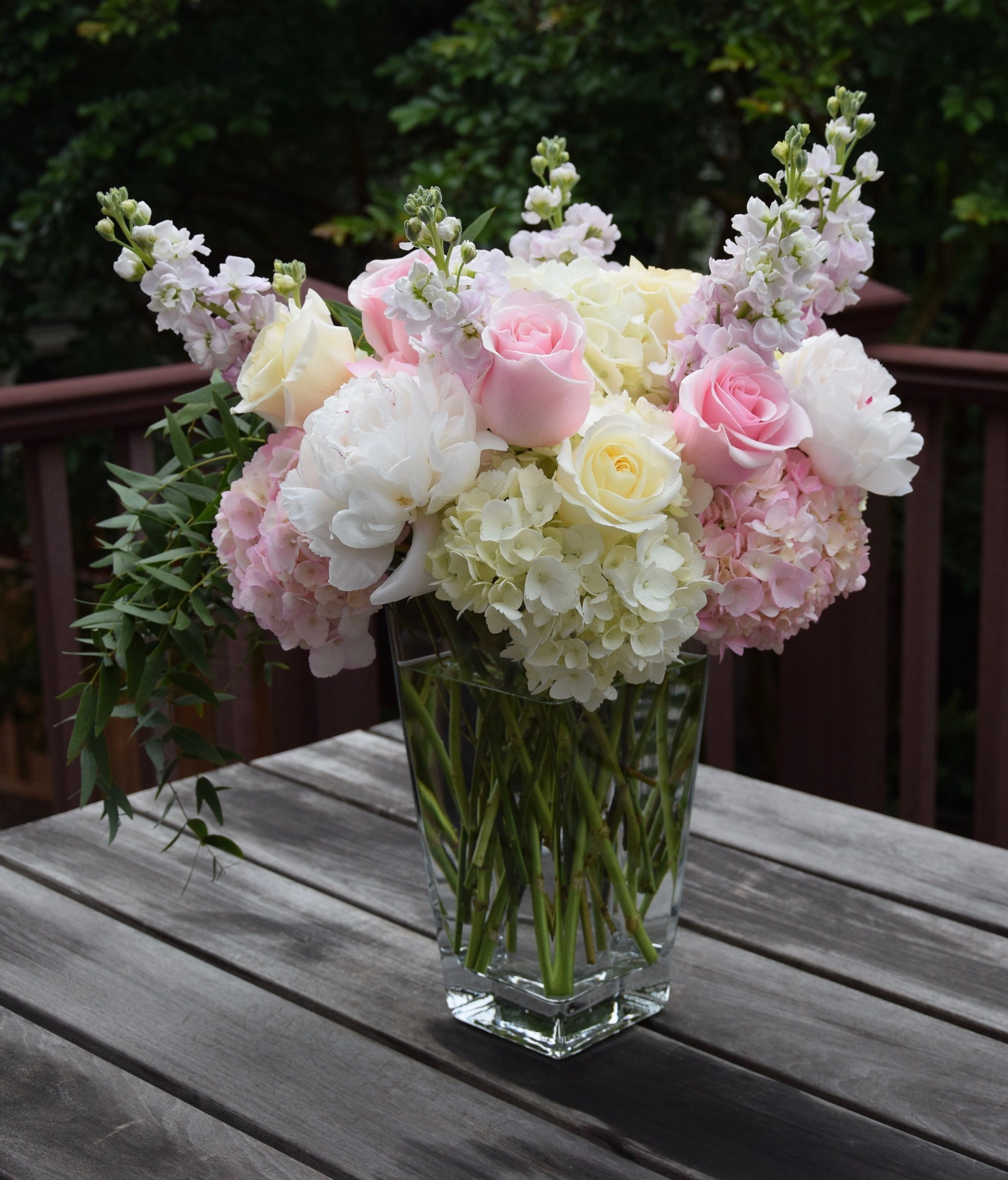 Tall Flower Arrangement For Mother S Day With Hydrangeas Peonies Stock Ro Birthday Flowers Arrangements Fresh Flowers Arrangements Flower Arrangements Diy
