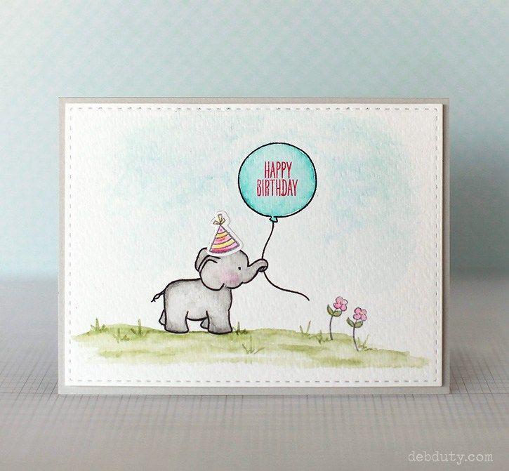 Happy Birthday Elephant Card Diy Birthday Card Drawing Watercolor Birthday Cards Birthday Cards