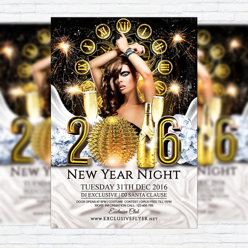 2016 New Year Night - Premium Flyer Template + Facebook Cover http - new year brochure template