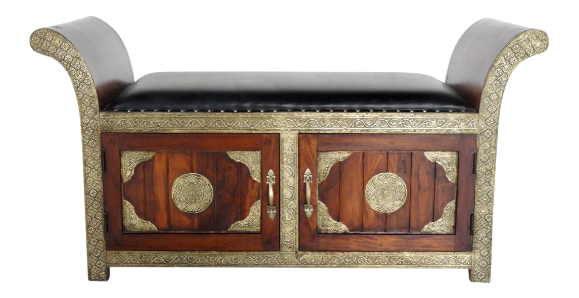 Handmade Brass Inlaid Cushioned Settee/Bench with storage imported from India. This bench has storage compartments made of teak with very intric.  sc 1 st  Pinterest & Handmade in India Brass Inlaid Settee With Storage | Pinterest ...