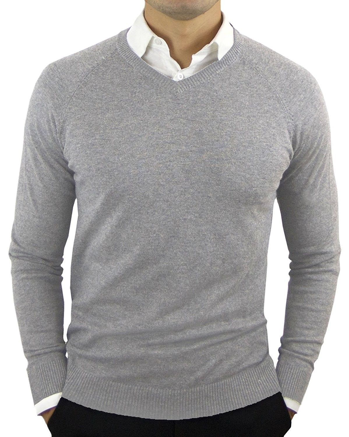 Men's Perfect Slim Fit V-Neck Sweater - Heather Gray - CX1281FHKBT | Sweater  outfits men, Pullover sweater men, Men sweater