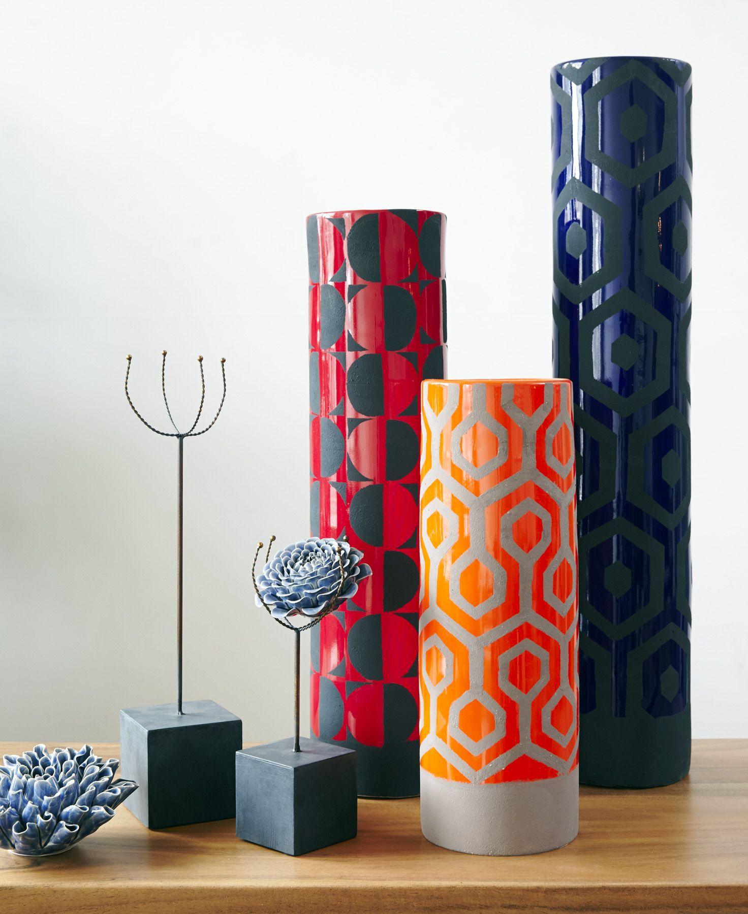 Gold Leaf Design Group Geometric Ceramic Cylinders