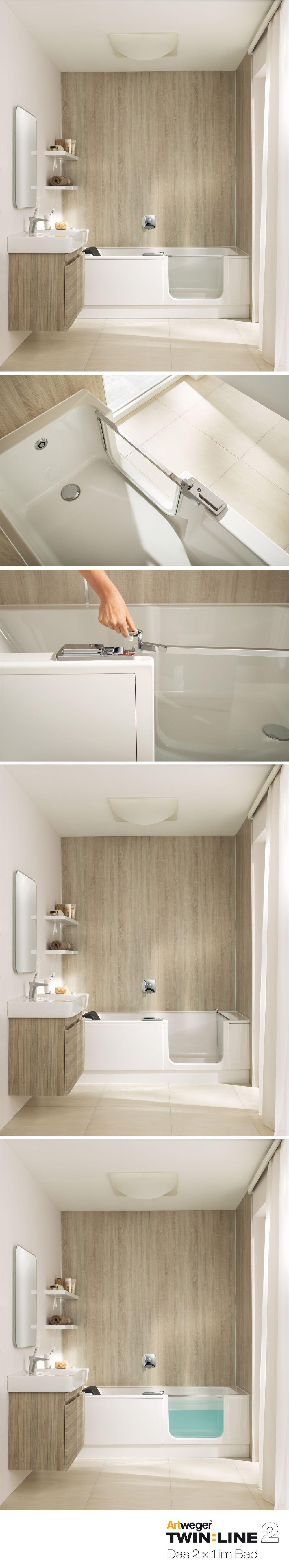 stylisches minibad mit komfort twinline 2 mit badewannent r f r einen bequemen einstieg in die. Black Bedroom Furniture Sets. Home Design Ideas
