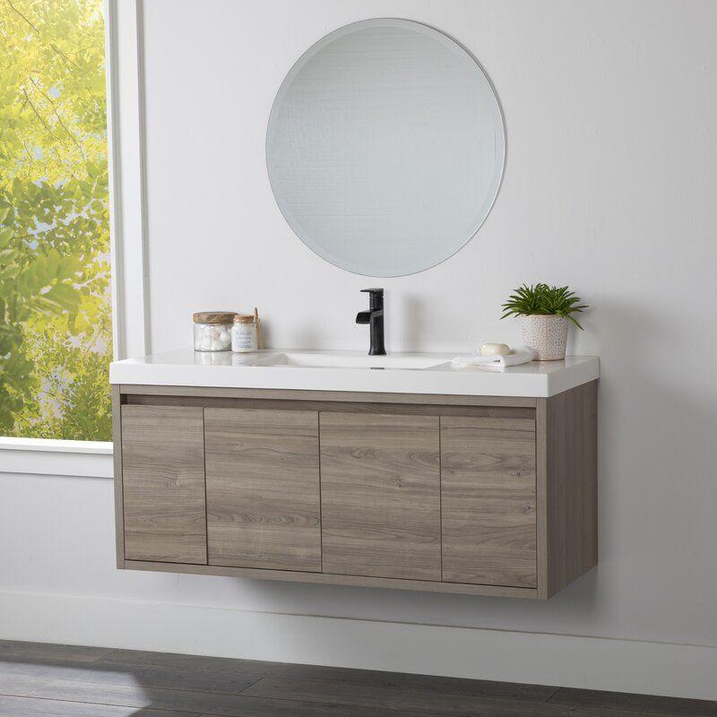 Rachal 49 Wall Mounted Single Bathroom Vanity Set Reviews Allmodern In 2020 Floating Bathroom Vanities Single Bathroom Vanity Bathroom Vanity