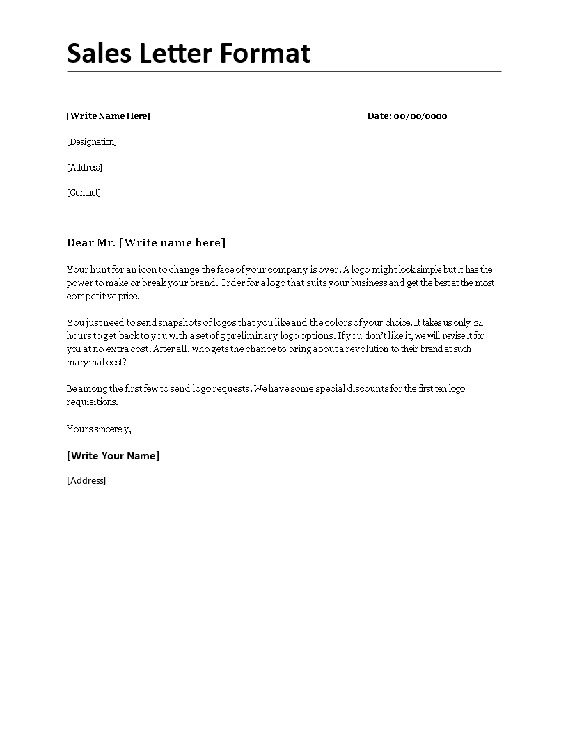 sales letter format sales letter formatdocx easy to download and use docx business template