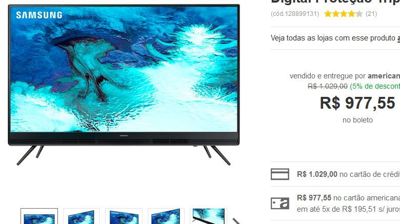 "TV LED 32"" Samsung 32K4100 HD com Conversor Digital Proteção Tripla Design Slim 2 HDMI 1 USB << R$ 97755 >>"