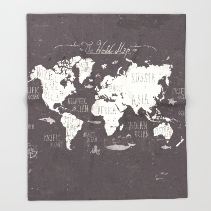 the world map throw blanket by mike koubou society6