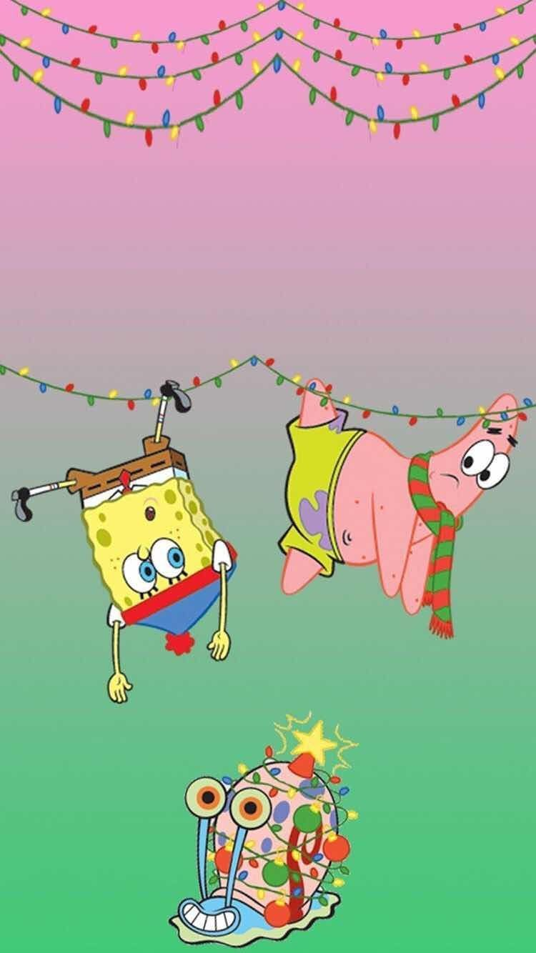 A Spongebob Christmas Wallpaper for iPhone and Android