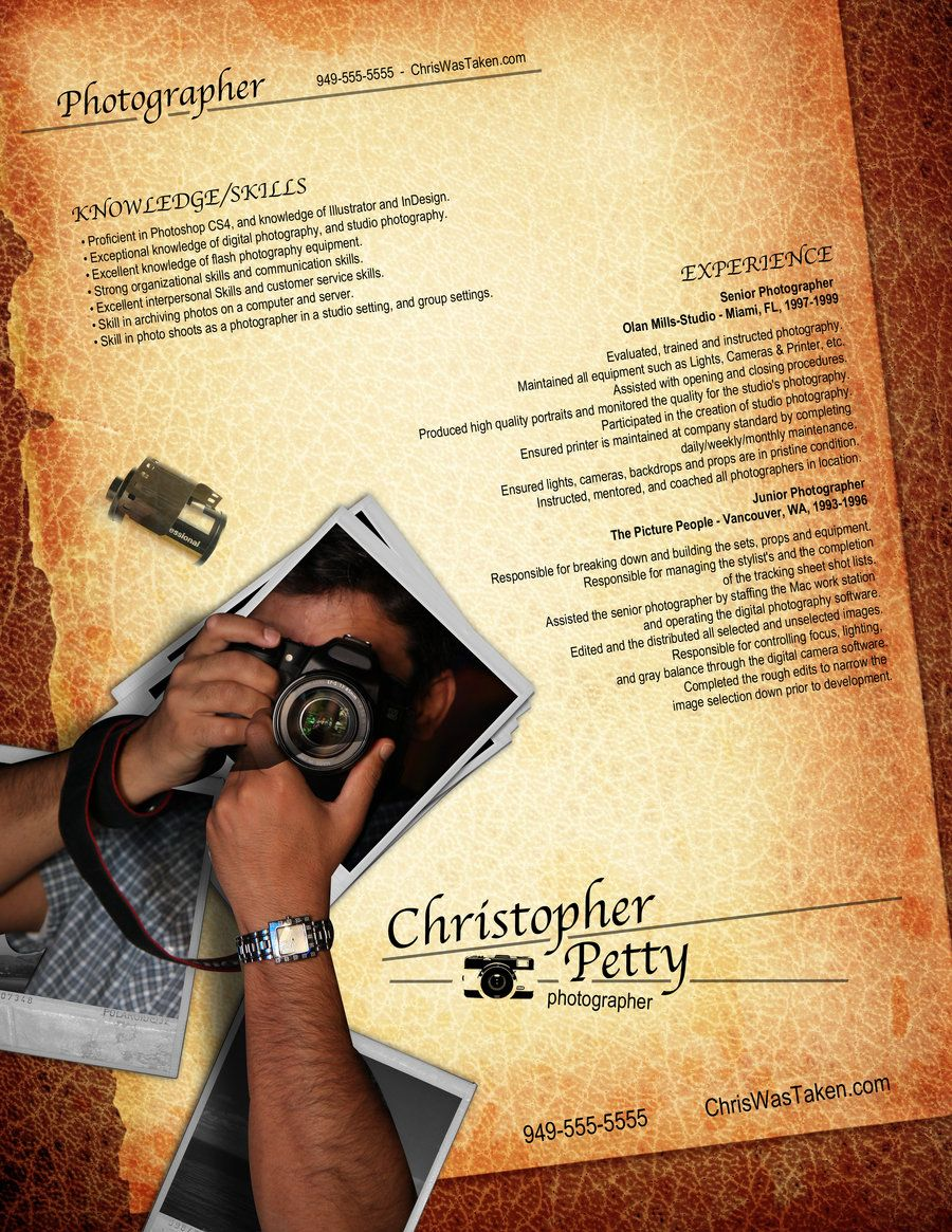Resume Design For Photgraphers Creative Resume Design