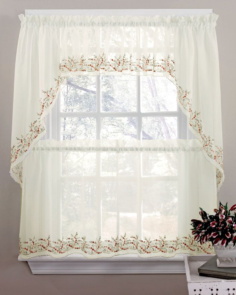 Heather Curtains Are A Beautiful Ivory Sheer Delicately Embroidered With Flowers Leaves Sheer Kitchen Kitchen Curtains Curtains Kitchen Curtain Designs