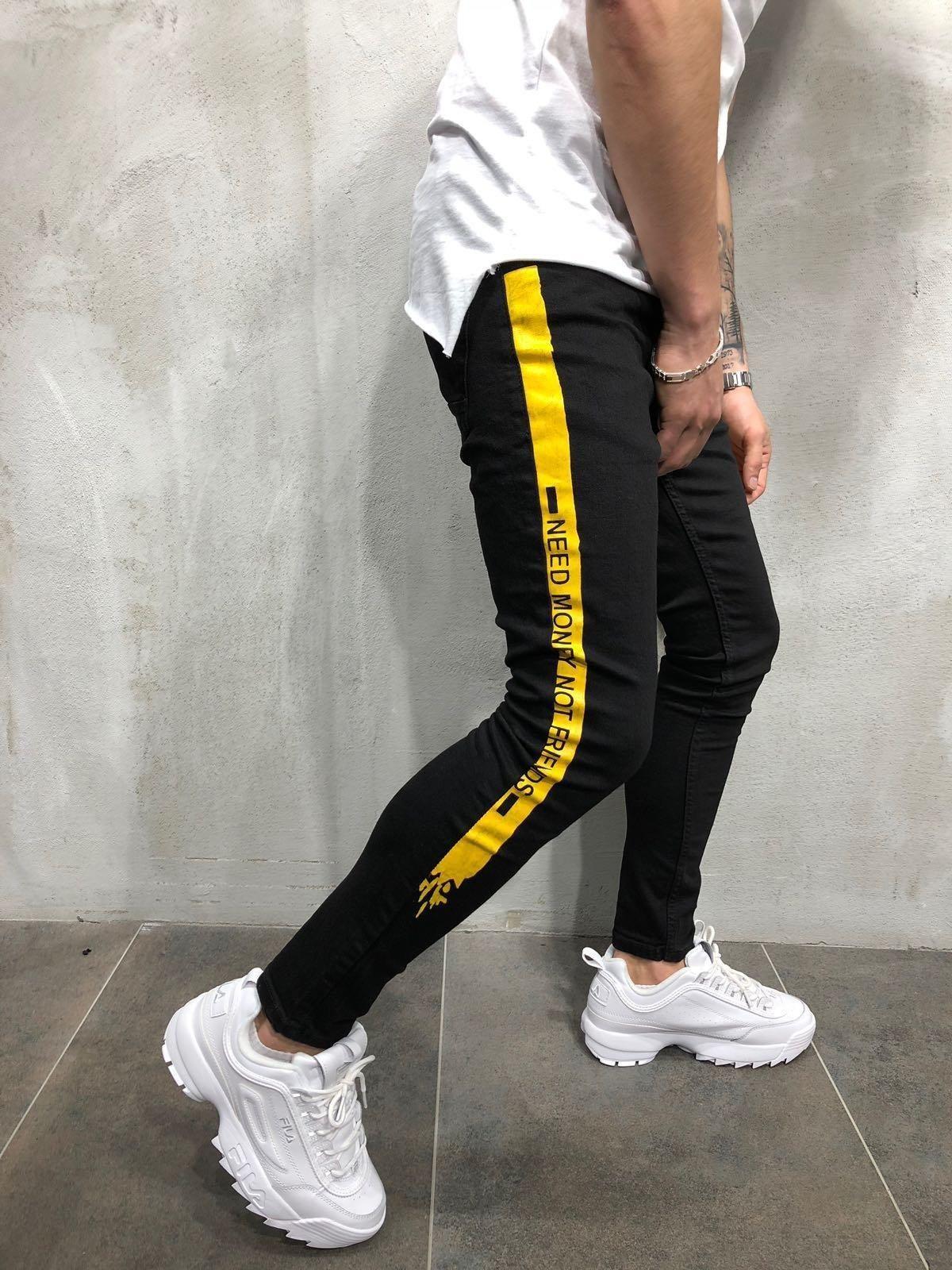 a6eaa88e48a9 Side Stripe Skinny Jeans - Black Yellow