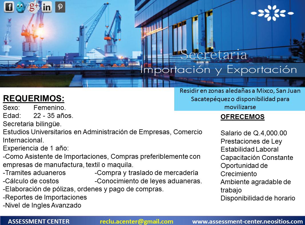 Estamos contratando: SECRETARIA DE IMPORTACIONES #PlazasVacantes ...