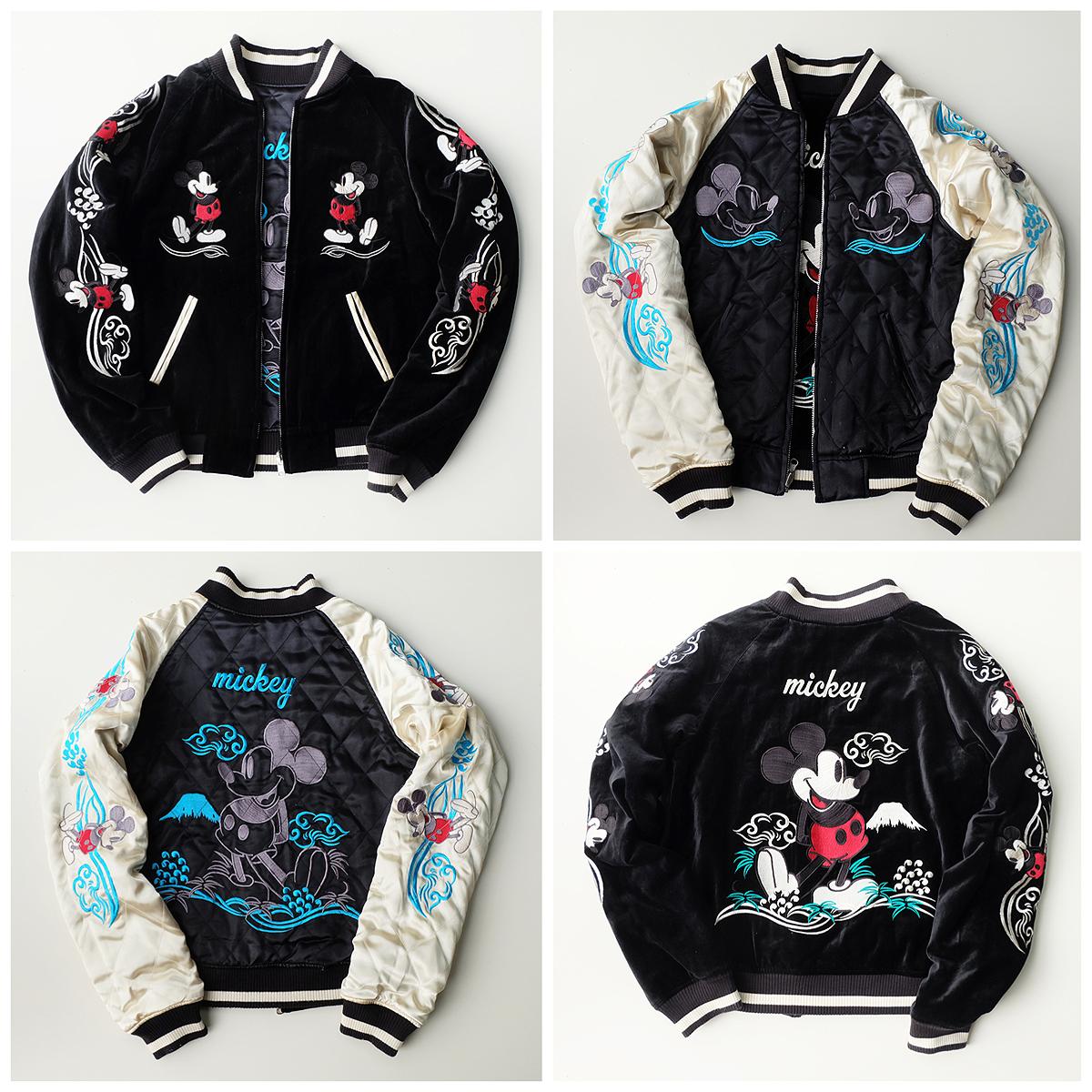Super Rare Japanese Tokyo Disneyland Disney Character Mickey Mouse Embroidery Sukajan Souvenir Reversible Jacket Jaket [ 1200 x 1200 Pixel ]