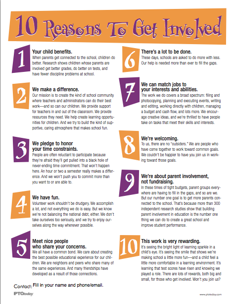 PTO Today: 10 Reasons To Get Involved Flyer (color)