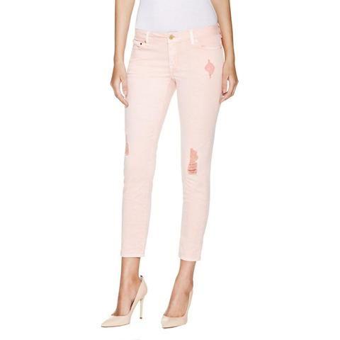 5b29462dfbaf MICHAEL Michael Kors Womens Izzy Denim Distressed Cropped Pants Blush| BHFO