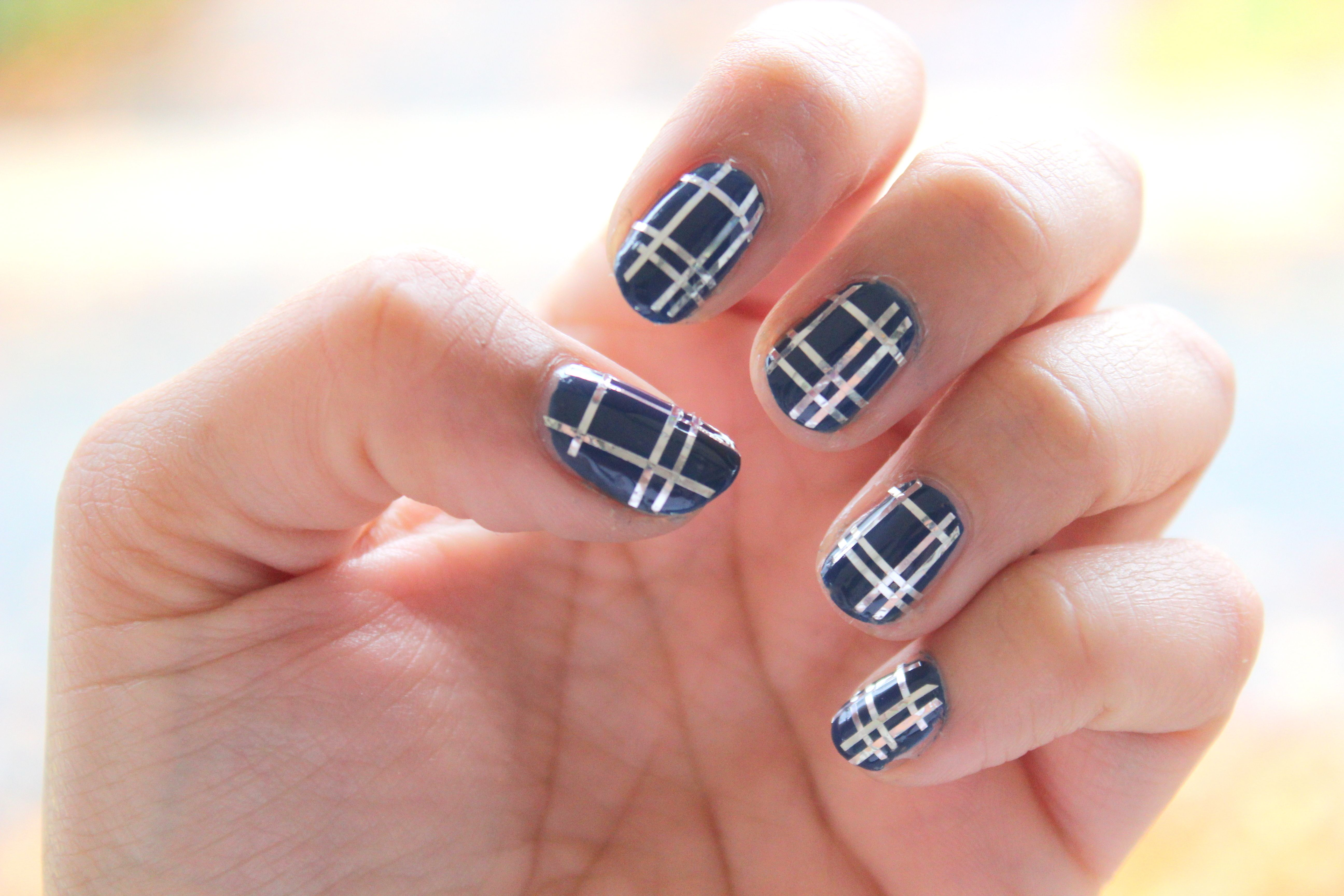Midweek Manicure // Adventures in Plaid | Nail tape, Plaid nails and ...