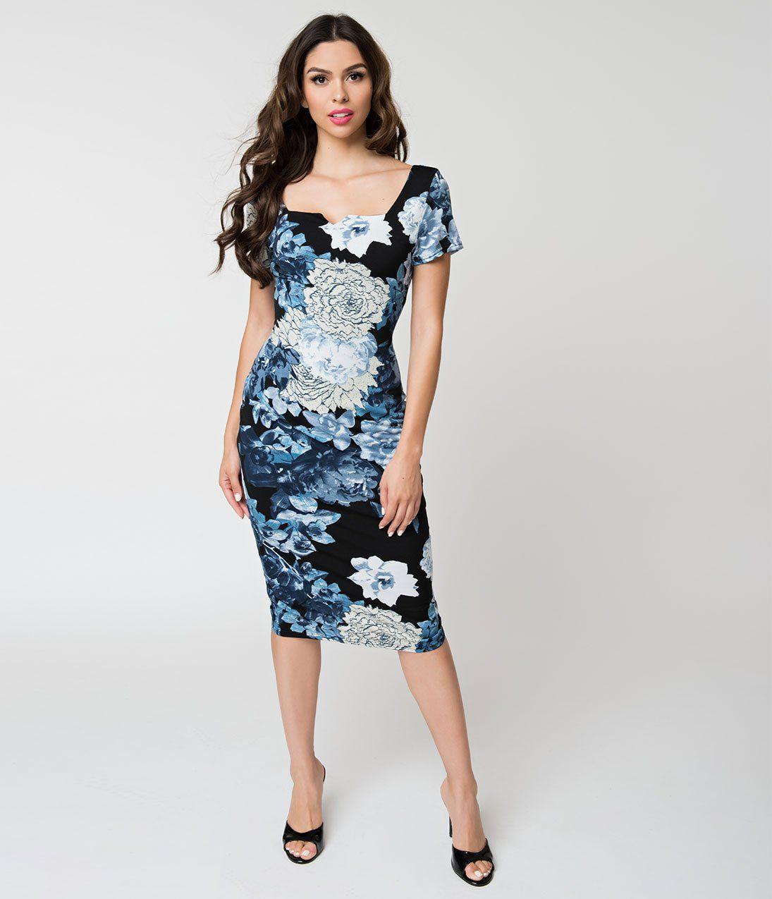 5d2f2645ec6 Unique Vintage Black   Blue Floral Short Sleeve Harris Knit Wiggle Dre