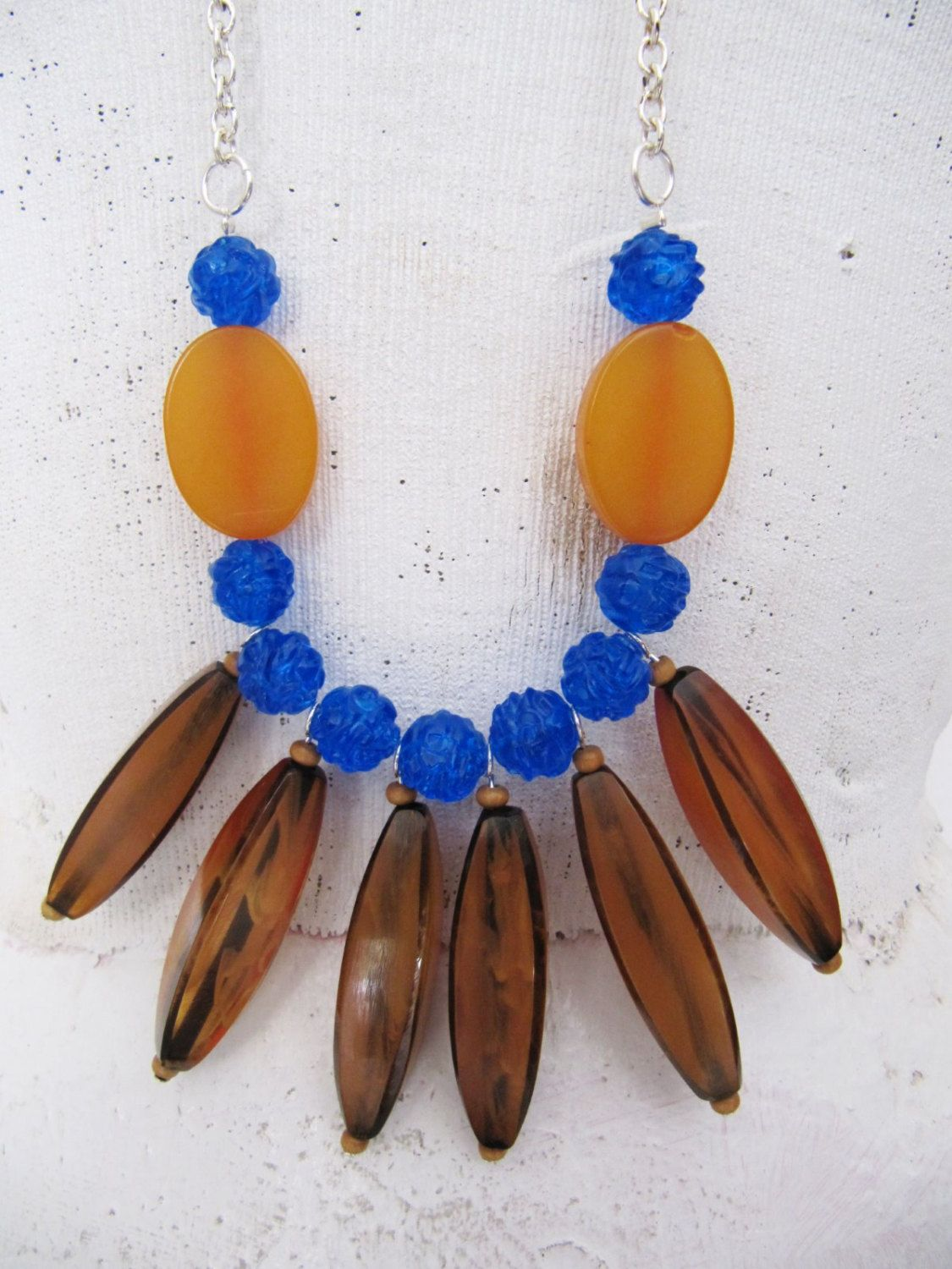 Long Statement Necklace   Bib Necklace   Amber Color Resin Beads, Plastic Blue Beads, Silver Plated Chain   Hand-Made - One-of-a-Kind by TheTreasureBoxOrna on Etsy