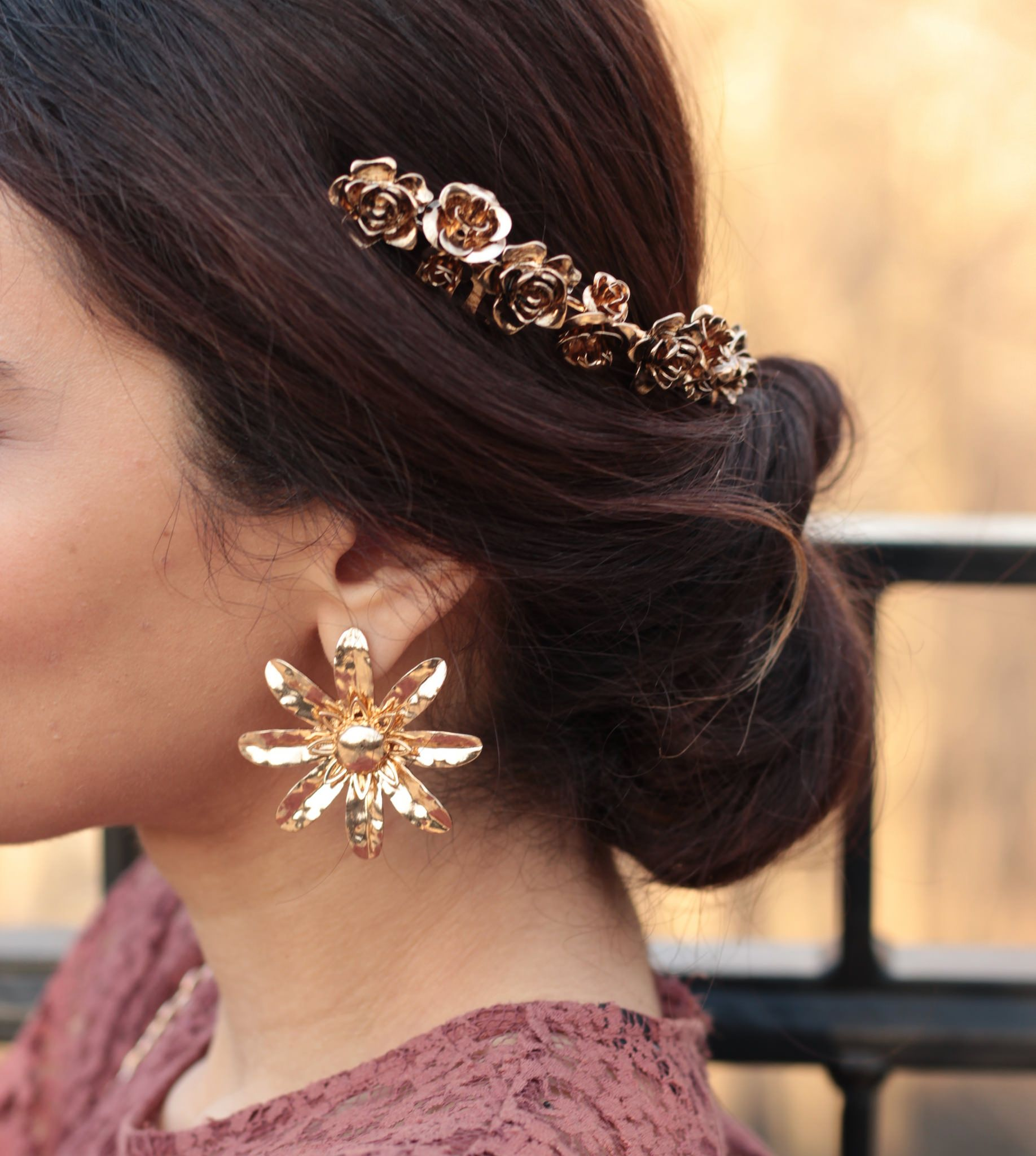 Boho Accessories -gold flower earrings and headpiece  – MODE DELINA