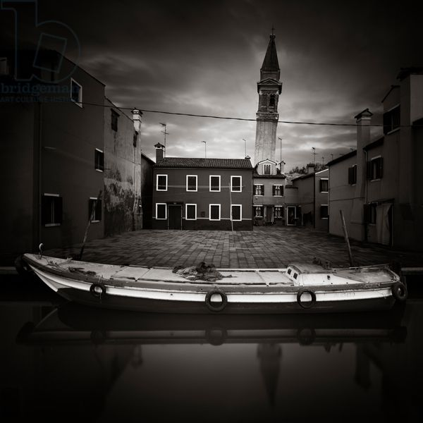 Chiesa di San Martino, Burano, Venice, Italy, 2014 (b/w photo) / Photo © Ronny Behnert / Bridgeman Images