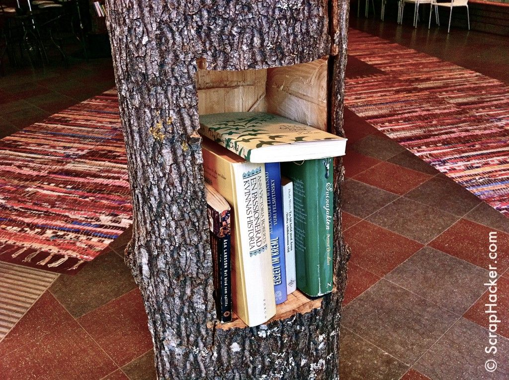 Funky Tree Trunk Shelf A Great Scraphack Log Home Decorating Tree Stump Table Decor
