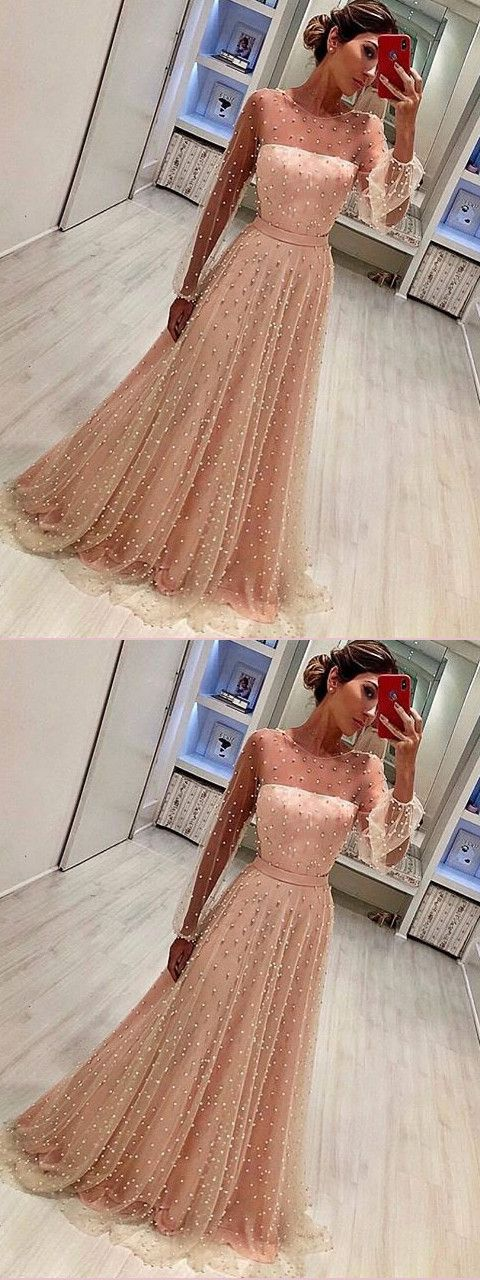 efe9a6332b Chic A-line Long Sleeve Prom Dresses Beading Pink Long Evening Dress-Amyprom  prom dresses 2018