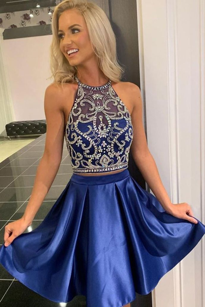 Beaded Navy Blue Two Piece Prom Dress, Short Homecoming Dresses #navyblueshortdress