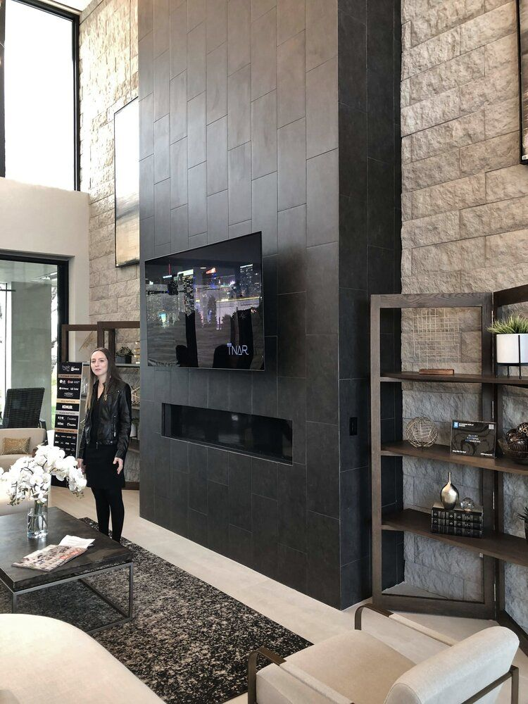 The New American Remodel Home Tour 2020 A Sophisticated Modern Home Designed In 2020 Tiled Fireplace Wall Modern Fireplace Two Story Fireplace