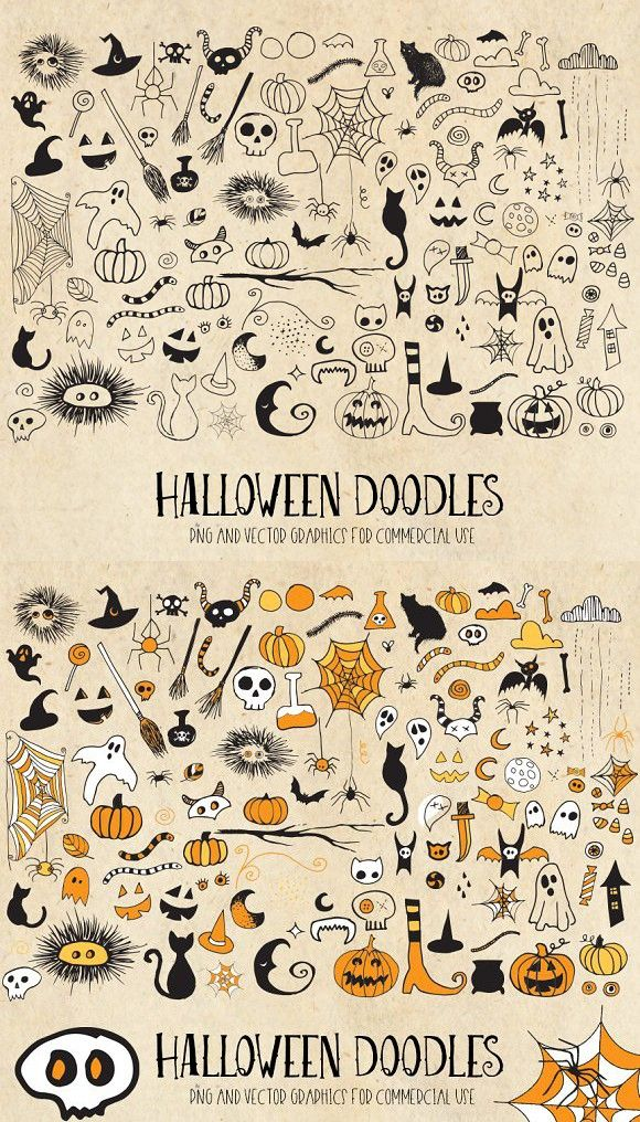 Halloween Doodle Clipart PNG Vector (With images