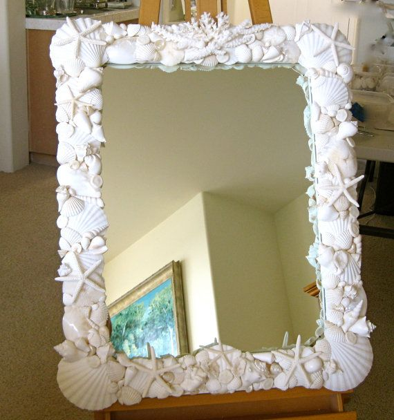Beach Decor Large Seashell Mirror Etsy Seashell Mirror Beach Decor Beach Mirror