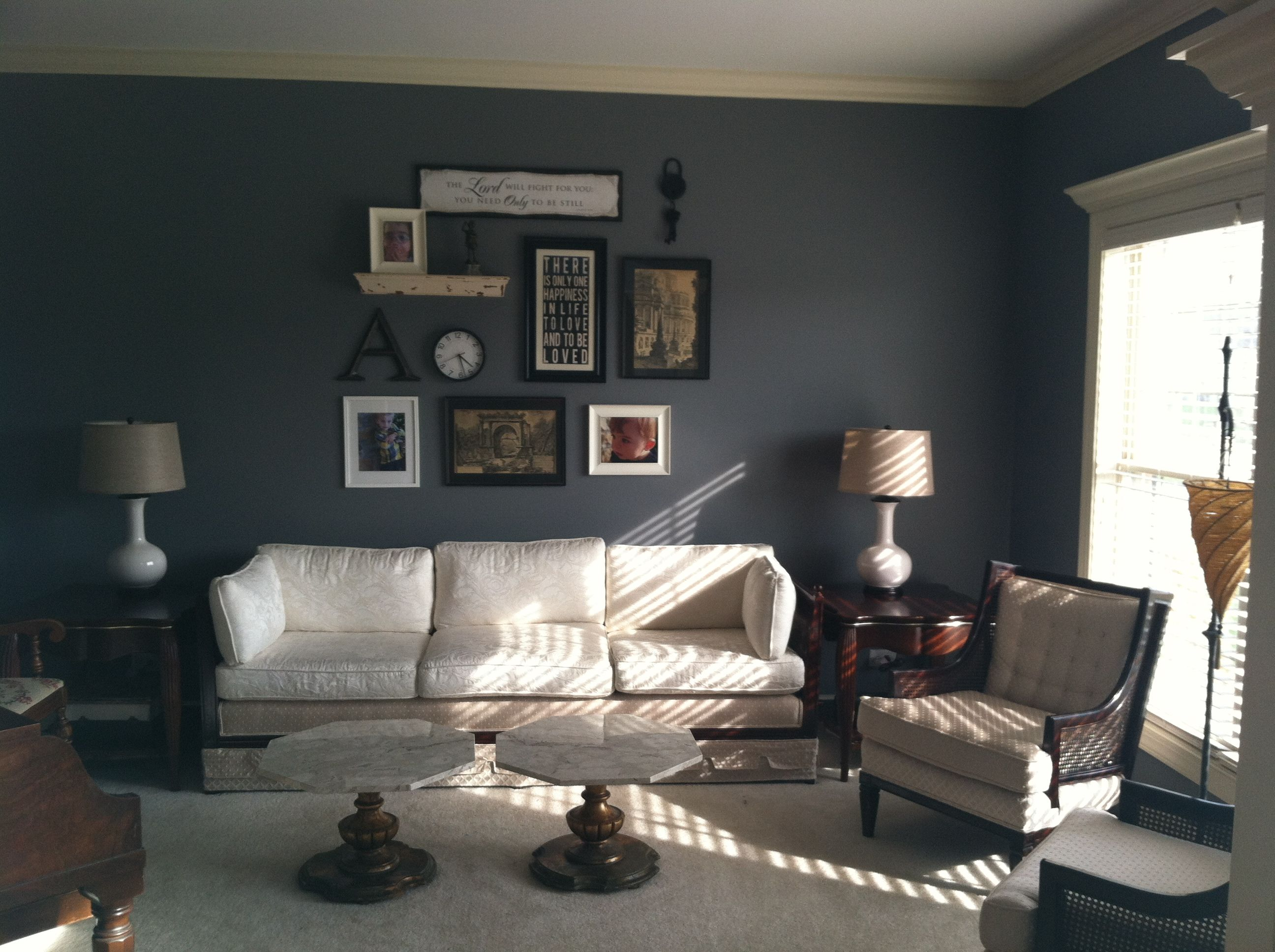 Dark Bluegreen Walls White Furniture Great Living Room