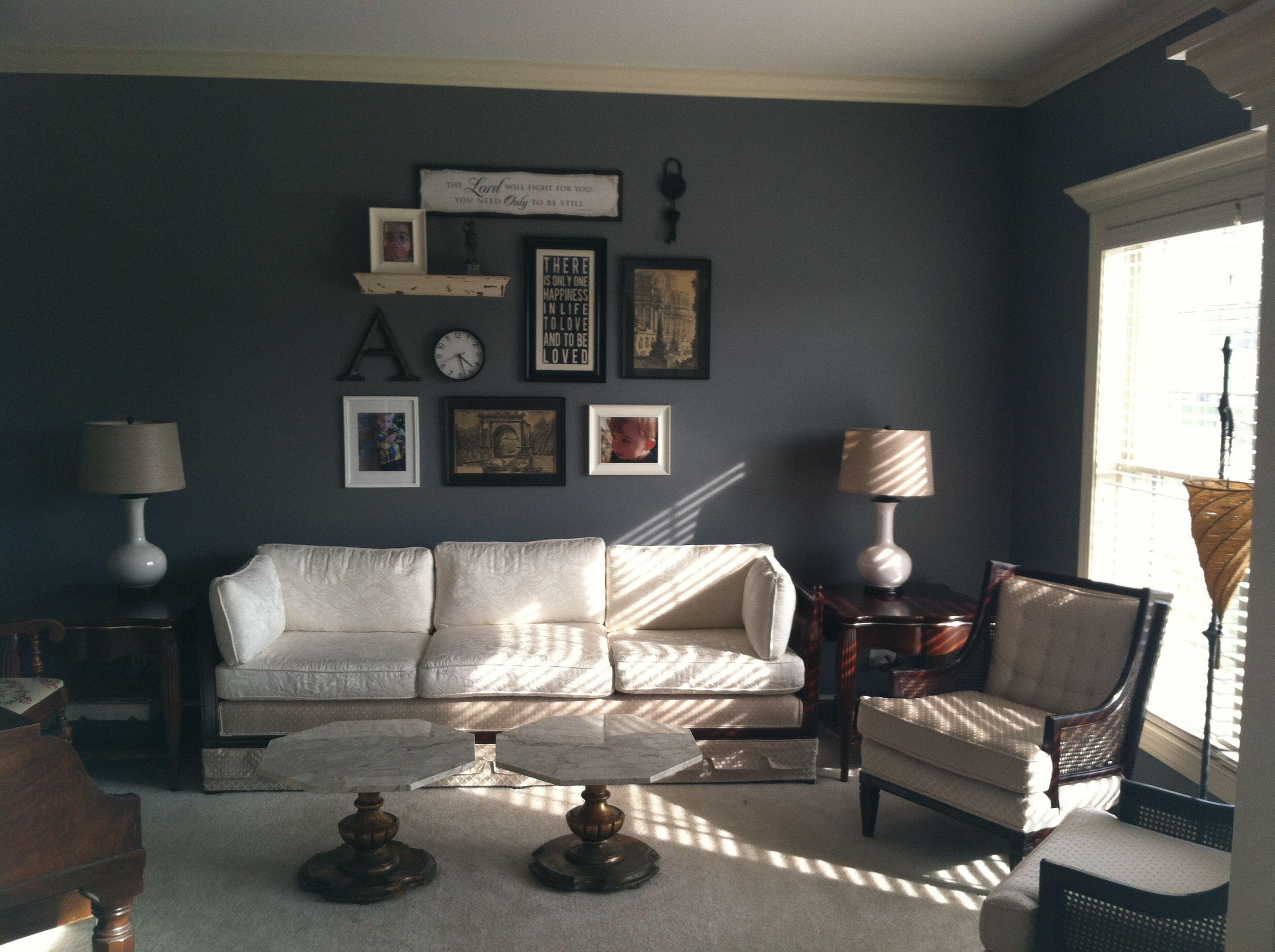 Best Dark Bluegreen Walls White Furniture Great Living Room 400 x 300