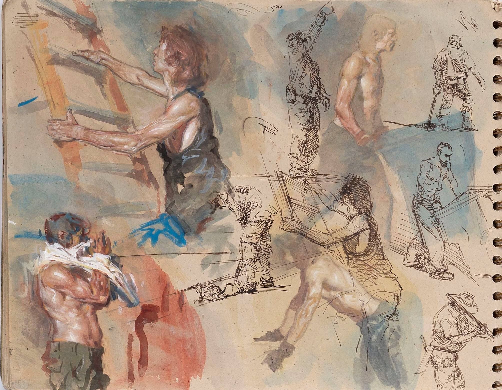 "Steve Huston, ""Yet another sketchbook page. Gouache and pen and ink. """
