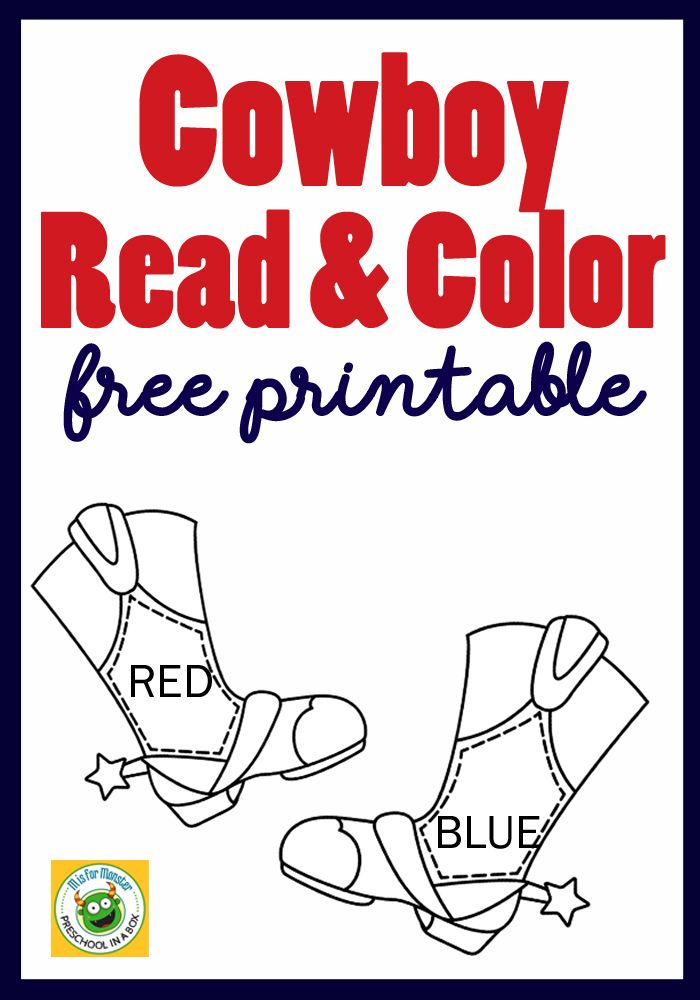 Fun Cowboy Read and Color Free Printable For Kids | Pinterest | Free ...