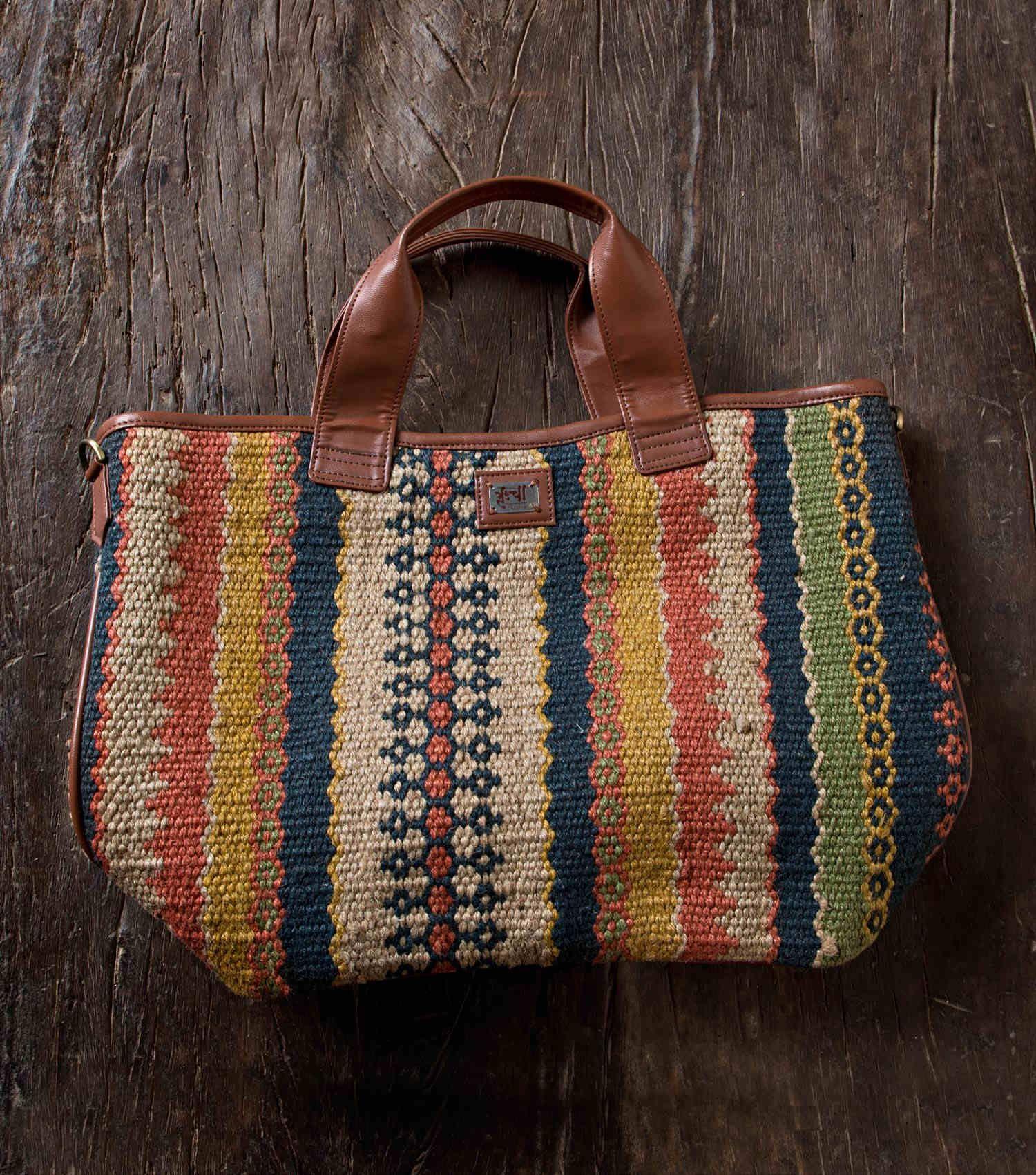 ace3ed4fa Amia Tote Bag Wool Jute Kilim and faux leather tote bag Multi ...