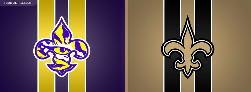 Lsu Tigers And New Orleans Saints Logos Facebook Cover New Orleans Saints Logo Facebook Cover Lsu