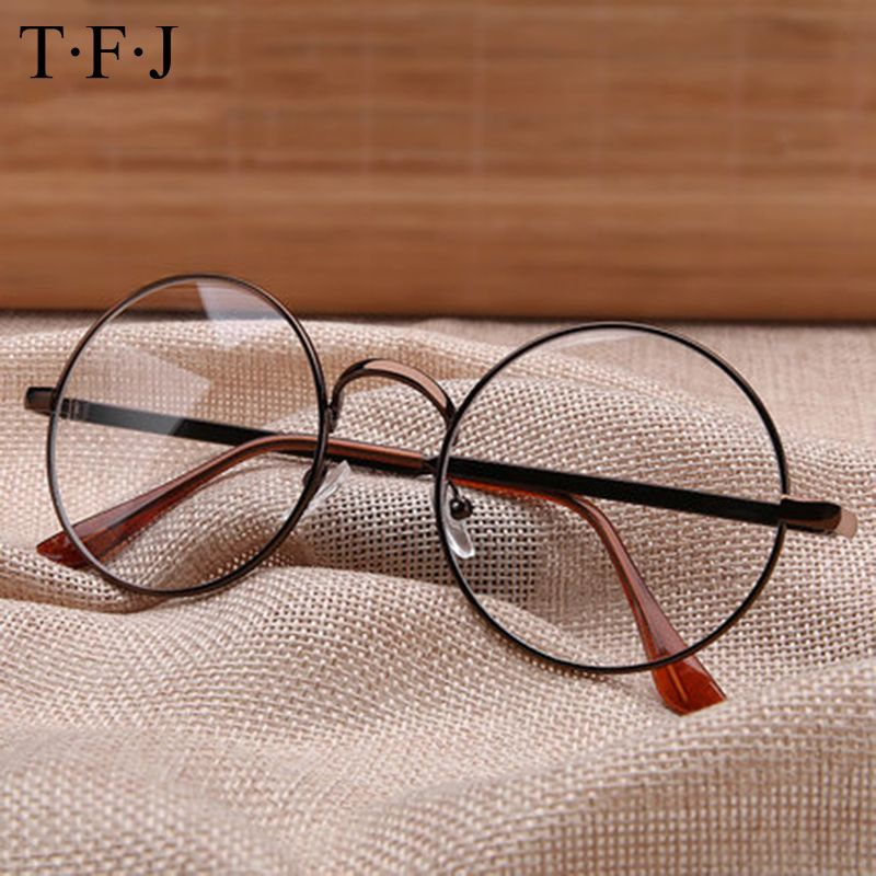 TFJ Full Rim Metal Glasses Frame Vintage Round Nerd Summer ...