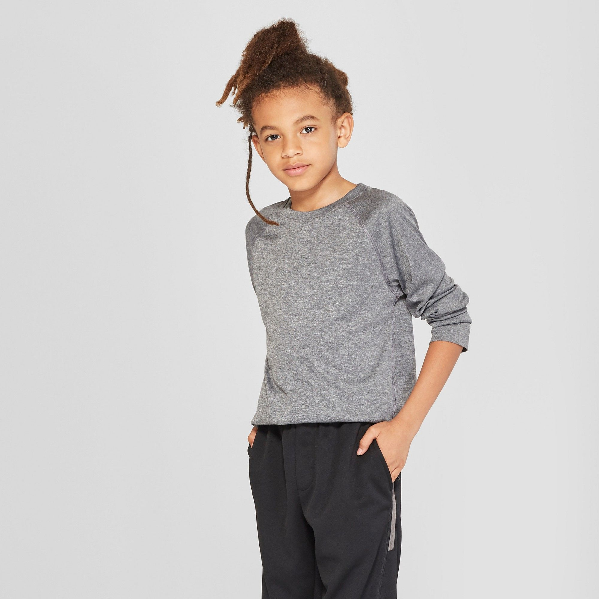 aa24ae92b887 Boys  Long Sleeve Tech T-Shirt - C9 Champion Black Heather XS