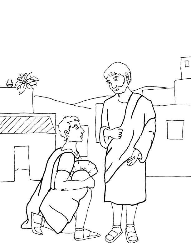 Coloring Page For Roman Centurion Asking Jesus To Heal Servent