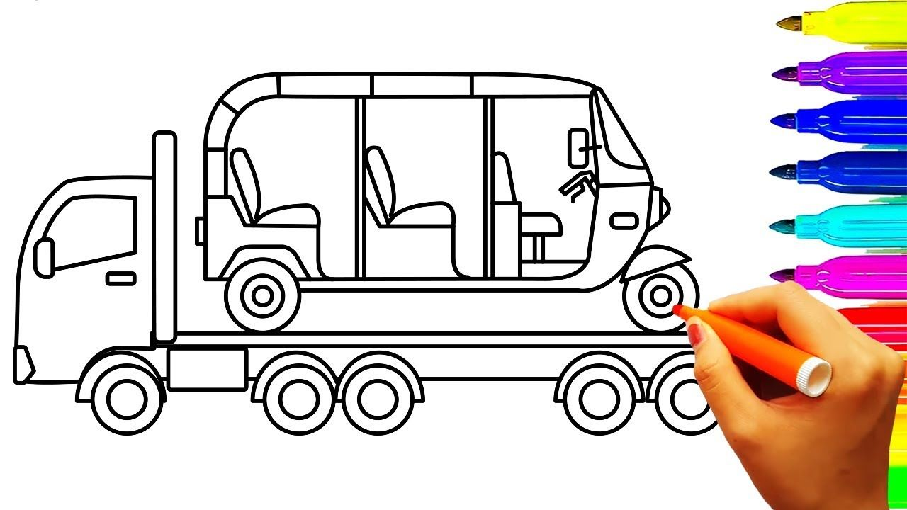 Car and Truck Coloring Pages, Auto Rickshaw Tuk Tuk Coloring Book ...