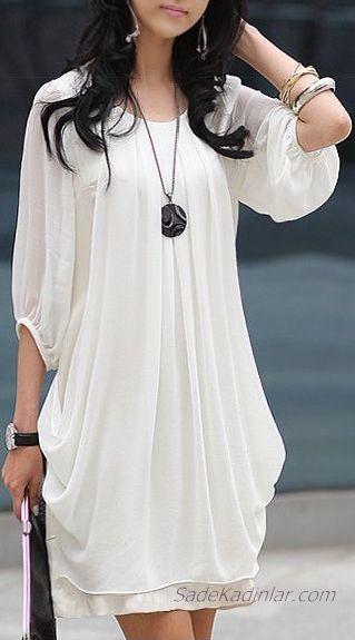 2020 Beyaz Şifon Elbise Modelleri Kısa Yetim Kol Geniş Yaka
