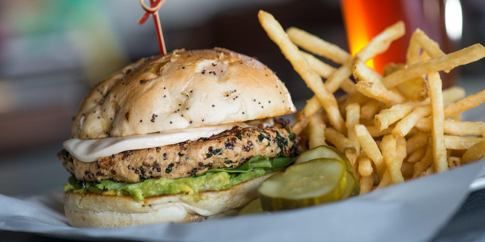 Yard House - Vegan Burger - red, quinoa, kale, shiitakes, daiya mozzarella, avocado, tomato, arugula, onion, miso, onion bun