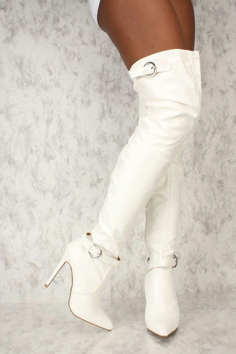 Boots, White leather boots, Knee boots