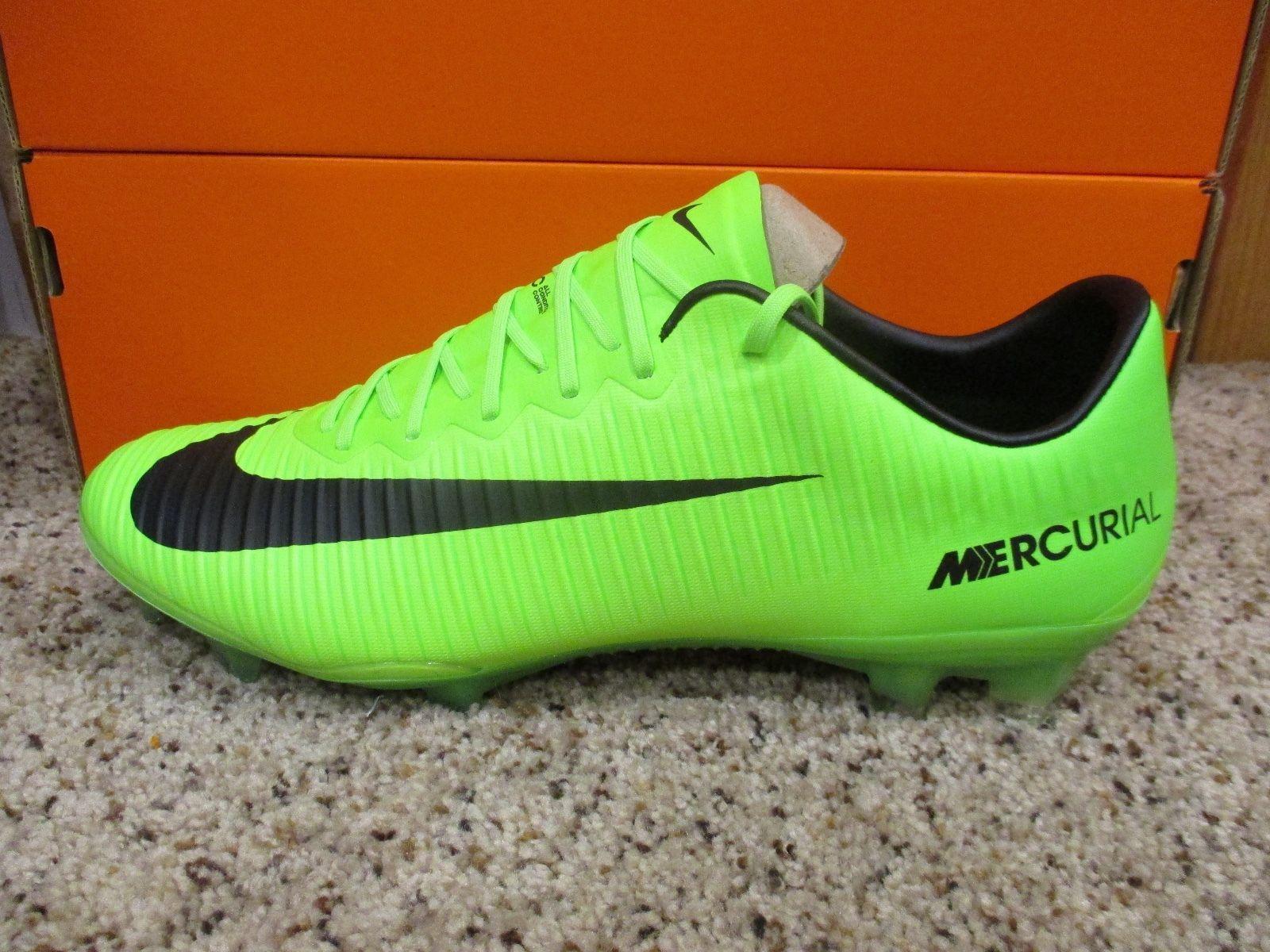 Nike Mens Mercurial Vapor XI FG Soccer Cleats (Electric Green/Black) 831958-