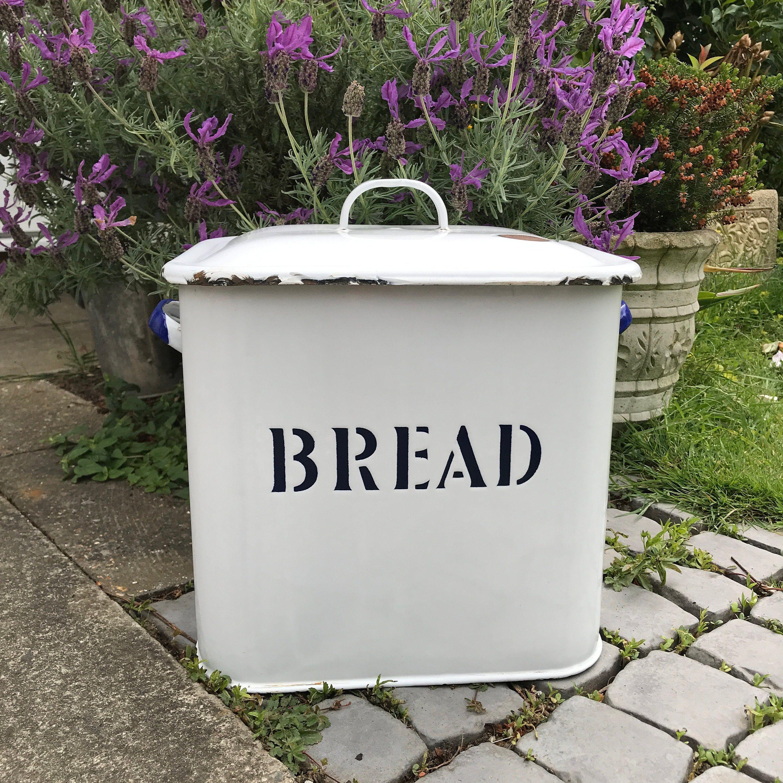 Enamel Bread Bin White and Blue Lidded Metal Bread Box