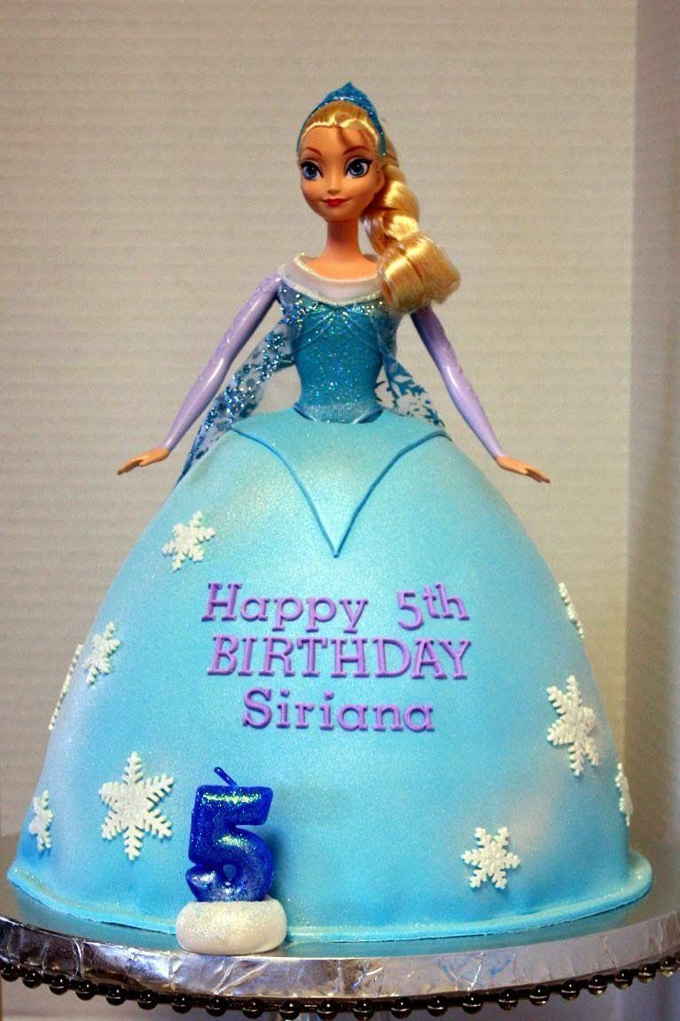 Elsa Cake Frozen Cake Using An Elsa Barbie Sized Doll And